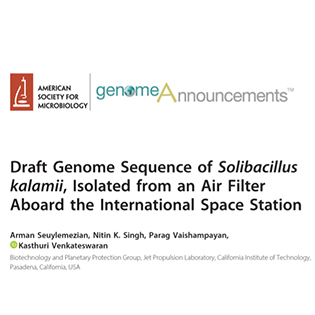 Draft Genome Sequence of Solibacillus kalamii, Isolated from an Air Filter Aboard the International Space Station
