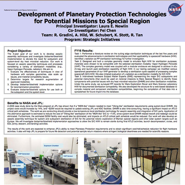 Development of Planetary Protection Technologies for Potential Missions to Special Region